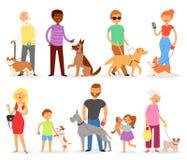 狗饲养有宠物和妇女或者人狗交配动物者的传染媒介人有狗或小狗例证狗一样套的孩子 皇族释放例证