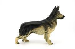 狗,德国牧羊犬小雕象  免版税图库摄影
