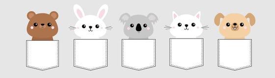 狗,猫小猫,熊,兔子,野兔,北美灰熊,考拉顶头面孔口袋集合 桃红色面颊 逗人喜爱的漫画人物 背景黑色关闭设计蛋炸锅衬衣t 宠物 向量例证