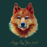 狗, 2018年的中国黄道带标志,隔绝在背景 亚洲太阴年 黄色地球狗的年,愉快 图库摄影