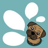 狗(哈巴狗)与气球文本 免版税图库摄影