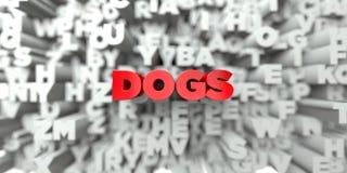 狗-在印刷术背景的红色文本- 3D回报了皇族自由储蓄图象 库存例证