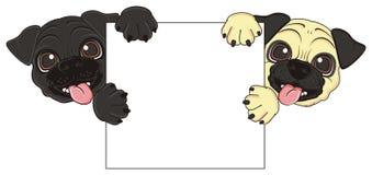 狗头从干净的横幅偷看  免版税图库摄影
