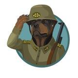 狗Rottweiler忠诚的战士 库存例证