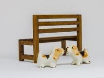 狗Shih在长木凳的慈济Cerimic在公园 免版税库存图片