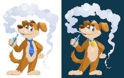 狗vaper 抽电子香烟的滑稽的狗 免版税库存图片