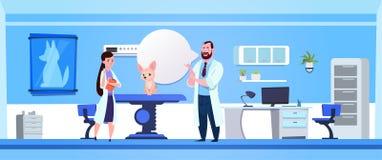 狩医篡改Examining Dog In Clinic办公室兽医概念 向量例证