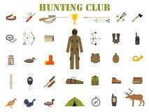 狩猎与步枪的设备成套工具,刀子、衣服、猎枪、起动、诱饵、光顾和比赛等导航例证 皇族释放例证