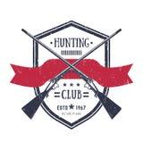 狩猎俱乐部与两杆老步枪的葡萄酒商标 向量例证