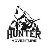 狩猎俱乐部或狩猎冒险商标模板 库存例证