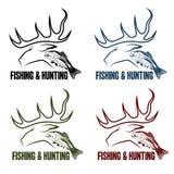狩猎和渔被设置的葡萄酒象征 库存照片