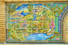 狩猎场面在Golestan装饰,德黑兰的 免版税库存照片