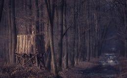 狩猎塔在黑暗的森林里 免版税库存照片