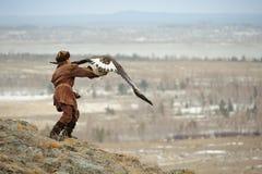 狩猎大师的国际比赛与狩猎鸟的 图库摄影