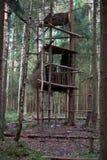 狩猎小屋在树的一个森林里 库存照片