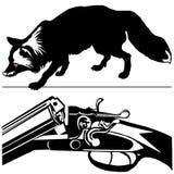 狩猎步枪银狐(狐狸fulva)黑色剪影 库存照片