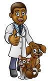 狩医与宠物猫和狗的漫画人物 免版税库存图片