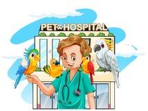 狩医和鹦鹉在医院 皇族释放例证