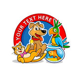 狩医诊所商标模板 动画片动物传染媒介 向量例证