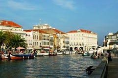 独木舟在阿威罗,葡萄牙 免版税库存照片