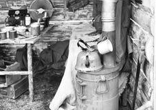 独木舟苏联士兵内部在第二次世界大战,重建期间的 免版税库存照片