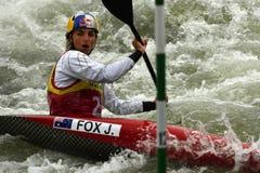独木舟障碍滑雪ICF世界杯,杰西卡Fox,澳大利亚 免版税库存照片