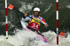 独木舟障碍滑雪ICF世界杯,米夏埃拉Hassova,斯洛伐克 免版税库存照片