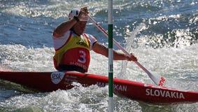 独木舟障碍滑雪ICF世界杯-米哈拉Martikan 免版税库存图片