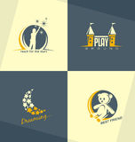 独特和minimalistic孩子商标设计观念 免版税库存图片