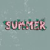 独特的字法海报与词夏天 艺术轻的向量世界 时髦手写的夏天例证 库存图片