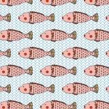 独特的桃红色鱼逗人喜爱的例证无缝的样式传染媒介 库存图片