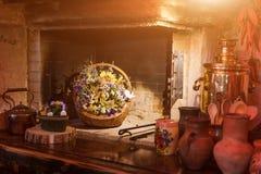 独特的种族餐馆内部 设计传统 乌克兰农村样式和装饰 欧洲,乌克兰 免版税图库摄影