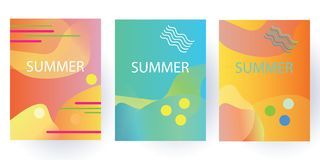 独特的艺术性的夏天卡片有明亮的梯度背景、形状和几何元素在孟菲斯样式 抽象设计卡片 库存图片