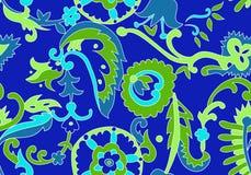 独特的蓝色花卉样式 库存图片