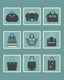 独特的被设置的妇女蓝色钱包正方形象 免版税库存图片