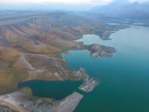 独特的风景在阿扎特水库,亚美尼亚 库存图片