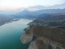 独特的风景在阿扎特水库,亚美尼亚 库存照片
