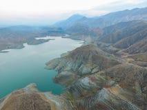 独特的风景在阿扎特水库,亚美尼亚 免版税库存图片