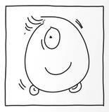 独眼的妖怪和轮子幽默漫画与吉祥人和象 库存例证