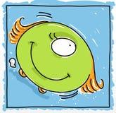 独眼的妖怪和轮子幽默漫画与吉祥人和象 向量例证