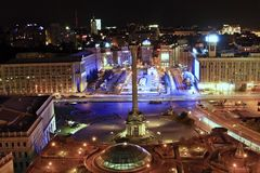 独立广场, (Maidan Nezalezhnosti)在基辅,乌克兰 库存图片