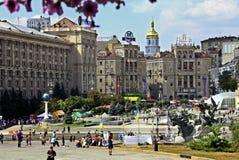 独立广场, (Maidan Nezalezhnosti)在基辅,乌克兰 免版税图库摄影