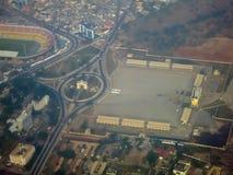 独立广场-阿克拉,加纳鸟瞰图  库存照片