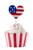 独立日杯形蛋糕 库存图片