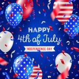 独立日7月第4, -贺卡设计 美国爱国颜色气球和五彩纸屑 库存例证