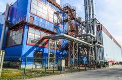 独立气体发电器和锅炉室在一个地方 免版税库存图片