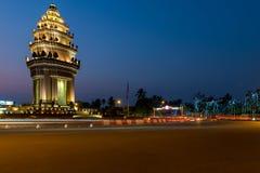 独立纪念碑金边,柬埔寨2016年1月 库存照片