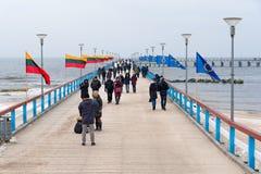 独立行动签字的帕兰加码头立陶宛百年庆祝 库存图片