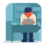 独自地工作膝上型计算机的人 皇族释放例证