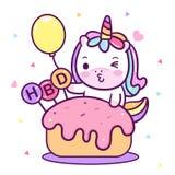 独角兽传染媒介的以图例解释者与气球传染媒介生日快乐生日聚会的与甜蛋糕点心滑稽的独角兽表示:Kawa 向量例证